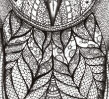 hand drawn portrait of an owl - black and white Sticker