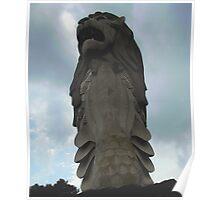 Merlion Stormy Skyline Poster