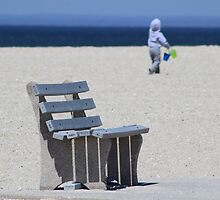 Bench, Beach and a Boy with Buckets by Gilda Axelrod