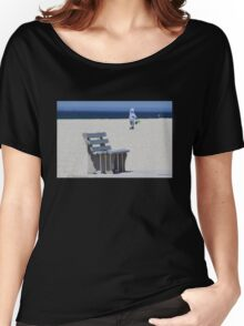Bench, Beach and a Boy with Buckets Women's Relaxed Fit T-Shirt
