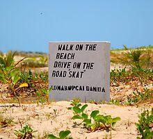 A BEACH SIGN IN MOZAMBIQUE - PRAIA DO BARRA by Magriet Meintjes