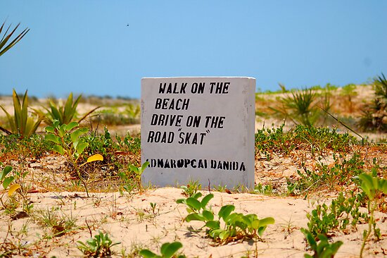 A BEACH SIGN IN MOZAMBIQUE - PRAIA DO BARRA by Magaret Meintjes