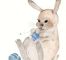 Knitting Bunny - An interpretative pet portrait by rotem