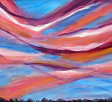 Pink ribbon sky by Becky Kulka