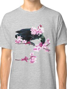 Tui Feeding on Cherry Blossoms: Metallic Classic T-Shirt