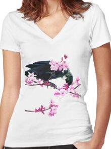 Tui Feeding on Cherry Blossoms: Metallic Women's Fitted V-Neck T-Shirt