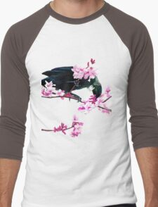 Tui Feeding on Cherry Blossoms: Metallic Men's Baseball ¾ T-Shirt