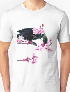 Tui Feeding on Cherry Blossoms: Metallic Unisex T-Shirt