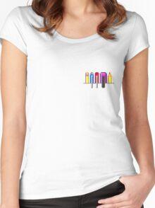 8Bit Nerd Pocket Pixels - 4 light shirt Women's Fitted Scoop T-Shirt