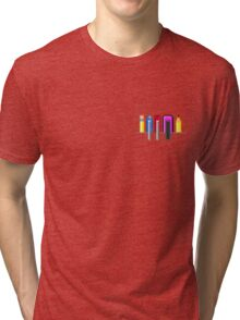 8Bit Nerd Pocket Pixels - 4 light shirt Tri-blend T-Shirt