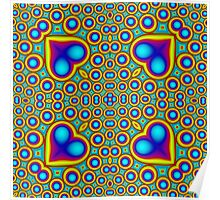 Stylish abstract colorful hearth pattern Poster