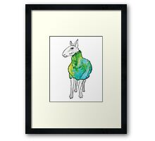 Psychedelic sheep: Blue Faced Leicester, teal/green Framed Print