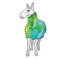 Psychedelic sheep: Blue Faced Leicester, teal/green Photographic Print