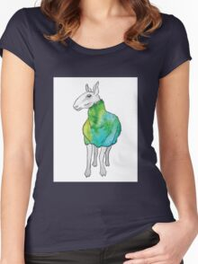 Psychedelic sheep: Blue Faced Leicester, teal/green Women's Fitted Scoop T-Shirt