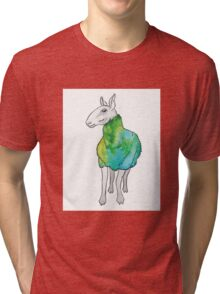 Psychedelic sheep: Blue Faced Leicester, teal/green Tri-blend T-Shirt