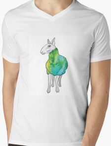 Psychedelic sheep: Blue Faced Leicester, teal/green Mens V-Neck T-Shirt