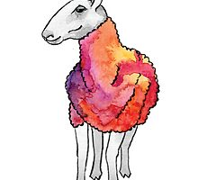 Psychedelic sheep: Blue Faced Leicester, red/violet by mercedesknits