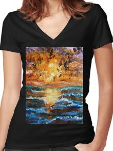 Sea Sunset Women's Fitted V-Neck T-Shirt
