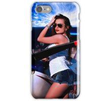 Fashion Girl and Airplane Fine Art Print iPhone Case/Skin