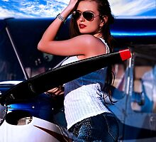 Fashion Girl and Airplane Fine Art Print by stockfineart