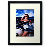 Fashion Girl and Airplane Fine Art Print Framed Print
