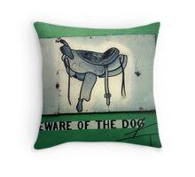 Beware of dog Throw Pillow