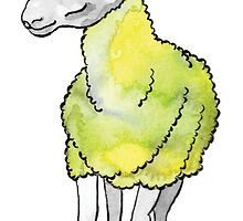 Psychedelic sheep: Blue Faced Leicester, yellow/green by mercedesknits