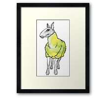 Psychedelic sheep: Blue Faced Leicester, yellow/green Framed Print