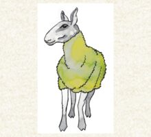 Psychedelic sheep: Blue Faced Leicester, yellow/green T-Shirt