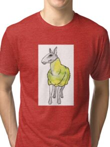 Psychedelic sheep: Blue Faced Leicester, yellow/green Tri-blend T-Shirt