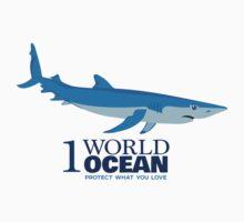 1 World Ocean - Blue Shark Baby Tee