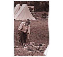 Campfire sepia Poster