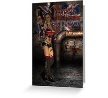 British Birthday Card With Sexy Street Grunge Female Greeting Card