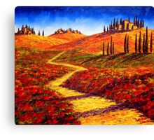 Tuscany Cypress Shadows Canvas Print
