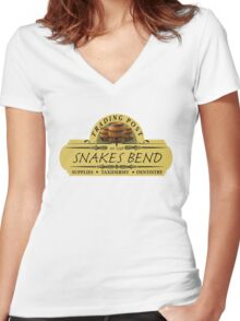Almost Heroes - Snakes Bend Trading Post Women's Fitted V-Neck T-Shirt