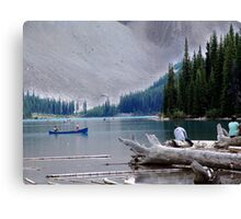 Canoeing-Moraine Lake  Canvas Print