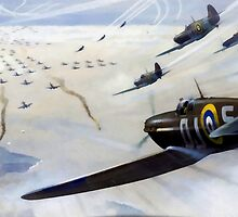 WW2 Vintage Propaganda Poster Art - Spitfire Intercept by verypeculiar