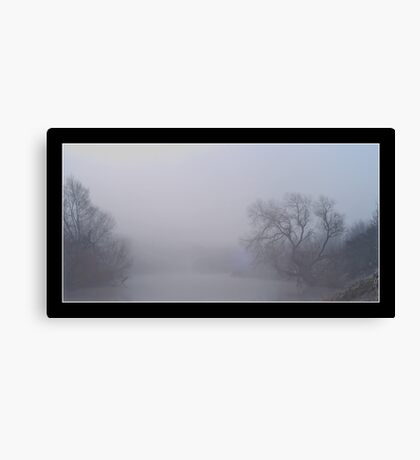 freezing fog over the river wear Canvas Print