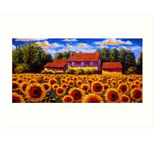 Home in the Sunflower Field Art Print
