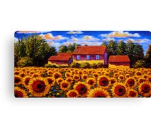 Home in the Sunflower Field Canvas Print