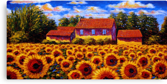 Home in the Sunflower Field by sesillie