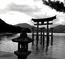 Miyajima torii gate B & W by LINDA MAHER