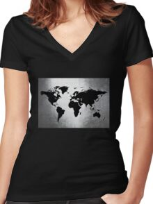 World Map Metal Women's Fitted V-Neck T-Shirt
