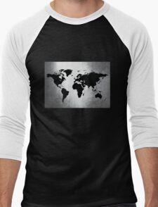 World Map Metal Men's Baseball ¾ T-Shirt