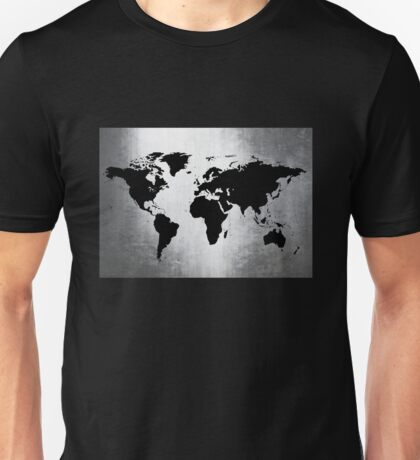World Map Metal Unisex T-Shirt