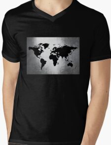 World Map Metal Mens V-Neck T-Shirt