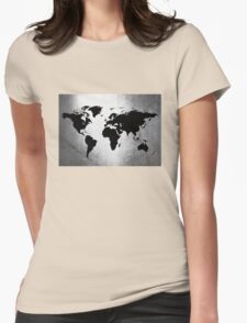 World Map Metal Womens Fitted T-Shirt