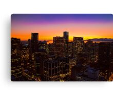 Canada. Vancouver, BC. Sunset in the Downtown. Canvas Print