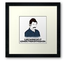 Parks and Recreation- Lowers Their Enthusiasm Framed Print