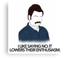 Parks and Recreation- Lowers Their Enthusiasm Canvas Print